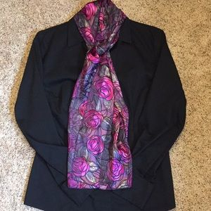 Accessories - Pink, grey, purple and black rose patterned scarf